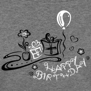 Happy Birthday motif, Congratulations - Women's Wideneck Sweatshirt