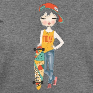 Cute Girl with Skateboard - Women's Wideneck Sweatshirt