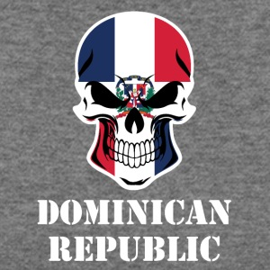 Dominican Flag Skull Dominican Republic - Women's Wideneck Sweatshirt