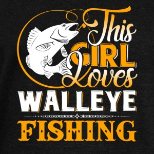 This Girl Loves Walleye Fishing Shirt - Women's Wideneck Sweatshirt