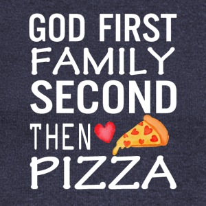 God First Family Second Then Pizza Love - Women's Wideneck Sweatshirt