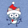 Christmas cat wearing Santa hat - Women's Wideneck Sweatshirt