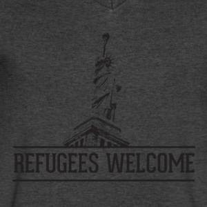 Refugees Welcome - Men's V-Neck T-Shirt by Canvas