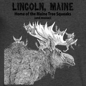 Maine Tree Squeaks with Moose - Men's V-Neck T-Shirt by Canvas