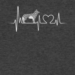 Siberian Husky Heartbeat Shirt - Men's V-Neck T-Shirt by Canvas