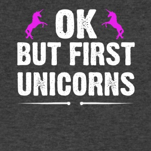 OK But First Unicorns - Men's V-Neck T-Shirt by Canvas