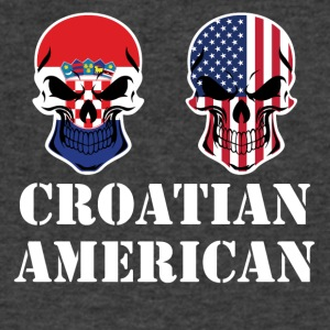 Croatian American Flag Skulls - Men's V-Neck T-Shirt by Canvas