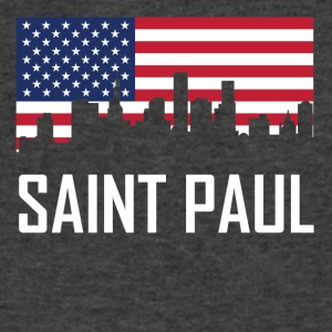 Saint Paul Minnesota Skyline American Flag - Men's V-Neck T-Shirt by Canvas