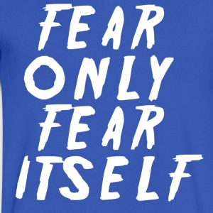 fear white - Men's V-Neck T-Shirt by Canvas