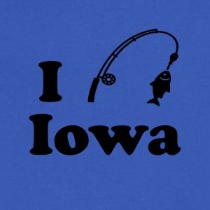 iowa fishing - Men's V-Neck T-Shirt by Canvas