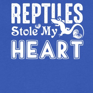 Reptiles Stole My Heart Shirts - Men's V-Neck T-Shirt by Canvas