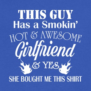 Smokin' Hot And Awesome Girlfriend T Shirt - Men's V-Neck T-Shirt by Canvas