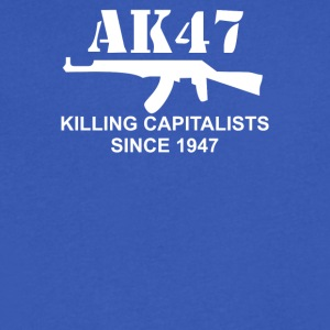 AK47 funny political weapons cool retro rude - Men's V-Neck T-Shirt by Canvas