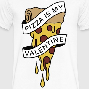 PIZZA IS MY VALENTINE PIZZA LOVE TEAM 10 - Men's V-Neck T-Shirt by Canvas