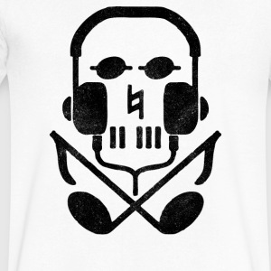 skull earphones - Men's V-Neck T-Shirt by Canvas