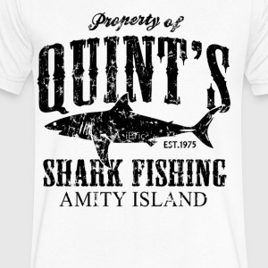 Quints Shark Fishing Amity Island - Men's V-Neck T-Shirt by Canvas