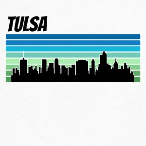 Retro Tulsa Skyline - Men's V-Neck T-Shirt by Canvas