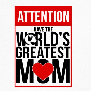 ATTENTION WORLDS GREATEST MOM T-SHIRT - Men's V-Neck T-Shirt by Canvas