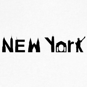 New York Skyline Black - Men's V-Neck T-Shirt by Canvas