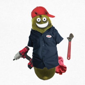 Mechanic Pickle - Men's V-Neck T-Shirt by Canvas
