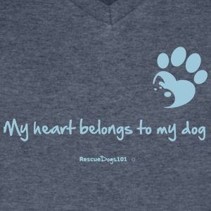 RescueDogs101 My heart belongs to my dog - Men's V-Neck T-Shirt by Canvas