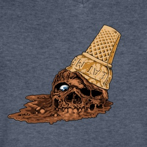 Chocolate Death Cone - Ice Cream Skull - Men's V-Neck T-Shirt by Canvas