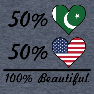 50% Pakistani 50% American 100% Beautiful - Men's V-Neck T-Shirt by Canvas