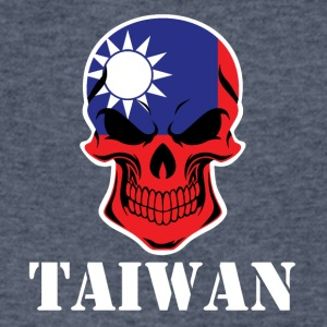 Taiwanese Flag Skull Taiwan - Men's V-Neck T-Shirt by Canvas