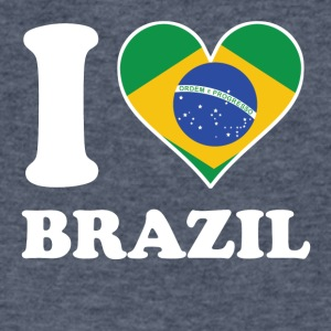 I Love Brazil Brazilian Flag Heart - Men's V-Neck T-Shirt by Canvas