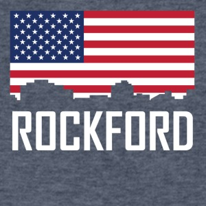 Rockford Illinois Skyline American Flag - Men's V-Neck T-Shirt by Canvas