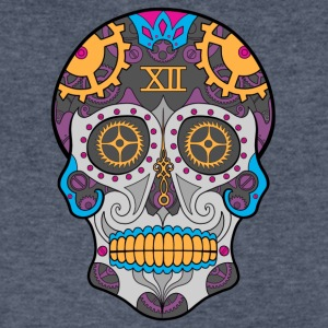 Clock Sugar Skull - Men's V-Neck T-Shirt by Canvas