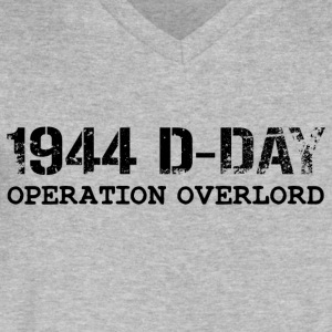 1944 D-Day Operation Overlord (Black) - Men's V-Neck T-Shirt by Canvas