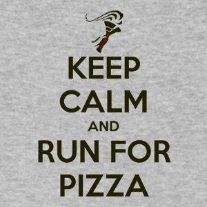 Keep Calm and Run For Pizza - Men's V-Neck T-Shirt by Canvas