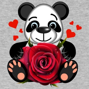 panda-bear-animal-i love you-wild-life-rose-heart - Men's V-Neck T-Shirt by Canvas
