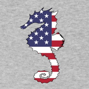American Flag - Seahorse - Men's V-Neck T-Shirt by Canvas
