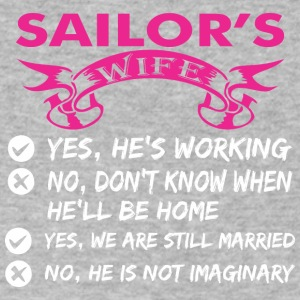 Sailors Wife Yes Hes Working - Men's V-Neck T-Shirt by Canvas