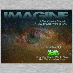 IMAGINE A VEGAN PEACEFUL WORLD. - Men's V-Neck T-Shirt by Canvas