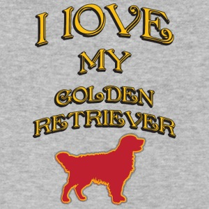 I LOVE MY DOG Golden Retriever - Men's V-Neck T-Shirt by Canvas