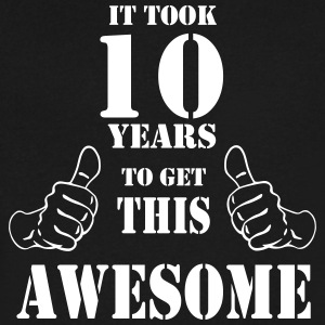 10th Birthday Get Awesome T Shirt Made in 2007 - Men's V-Neck T-Shirt by Canvas