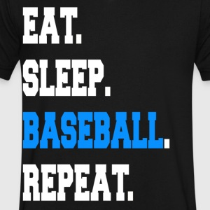 Funny Eat Sleep Baseball Repeat Sayings Apparel - Men's V-Neck T-Shirt by Canvas