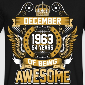 December 1963 54 Years Of Being Awesome - Men's V-Neck T-Shirt by Canvas