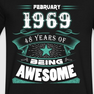 February 1969 - 48 years of being awesome (v.2017) - Men's V-Neck T-Shirt by Canvas