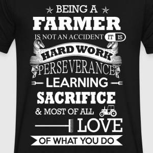 Being a Farmer T Shirts - Men's V-Neck T-Shirt by Canvas