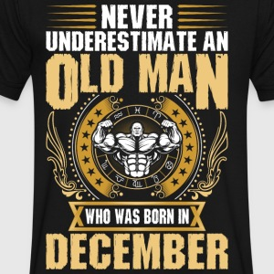 Never Underestimate An Old Man Born In December - Men's V-Neck T-Shirt by Canvas