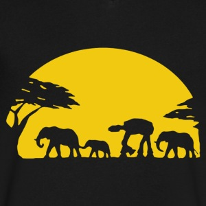 Walker With Elephants Shirt - Men's V-Neck T-Shirt by Canvas