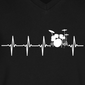 Drums - Heartbeat - Men's V-Neck T-Shirt by Canvas