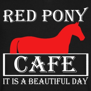 Red Pony Cafe Shirt - Men's V-Neck T-Shirt by Canvas