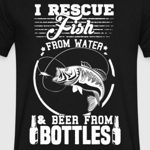 Rescue Fish Shirt - Men's V-Neck T-Shirt by Canvas