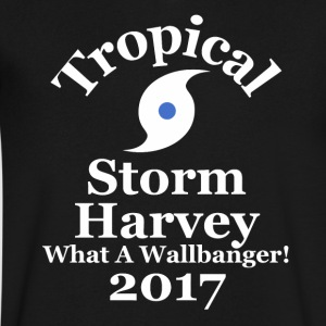 Tropical Storm Harvey What A Wallbanger 2017 Texas - Men's V-Neck T-Shirt by Canvas