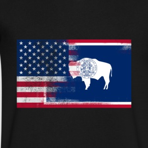 Wyoming American Flag Fusion - Men's V-Neck T-Shirt by Canvas